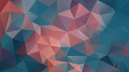 Vector de fondo abstracto polígono irregular - triángulo patrón de baja poli - color azul verde azulado y rosa coral naranja