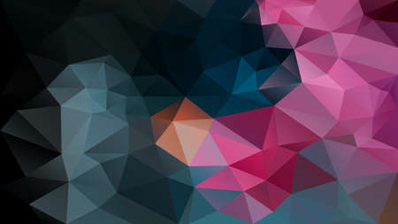 vector abstract irregular polygon background - triangle low poly pattern - petroleum black and hot pink magenta color Ilustrace