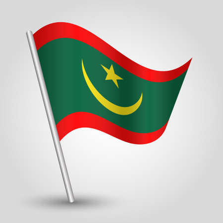 vector waving simple triangle mauritanian flag on slanted silver pole - symbol of mauritania with metal stick