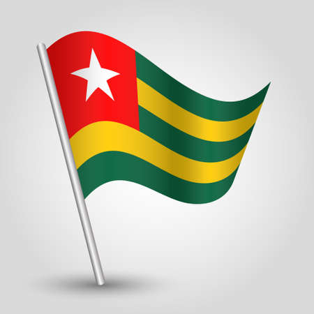 vector waving simple triangle togolese flag on slanted silver pole - symbol of togo with metal stick