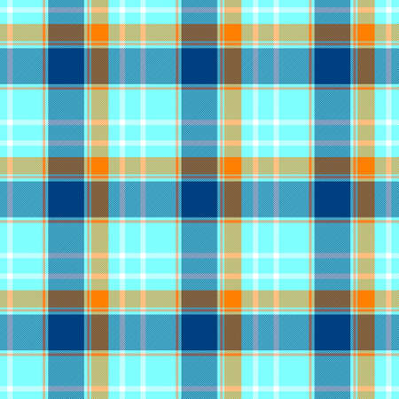 checked diamond tartan plaid scotch kilt fabric seamless pattern texture background - color cyan blue, navy, orange and white