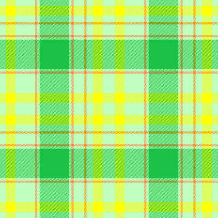 checked diamond tartan plaid scotch kilt fabric seamless pattern texture background - color highlight green, yellow and orange Stockfoto