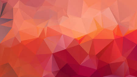 vector abstract irregular polygon background - triangle low poly pattern - red pink orange coral color