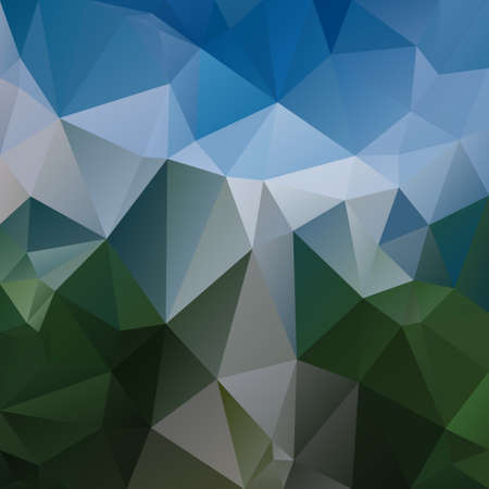 vector abstract irregular polygon square background - triangle low poly pattern - sky blue and grass green colored landscape Illustration