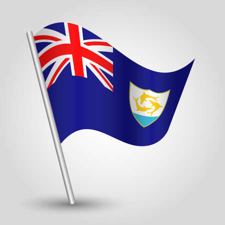 vector waving simple triangle anguillian flag on slanted silver pole - symbol of anguilla with metal stick Illustration
