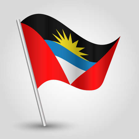 vector waving simple triangle antiguan barbudan flag on slanted silver pole - symbol of antigua and barbuda with metal stick Illustration