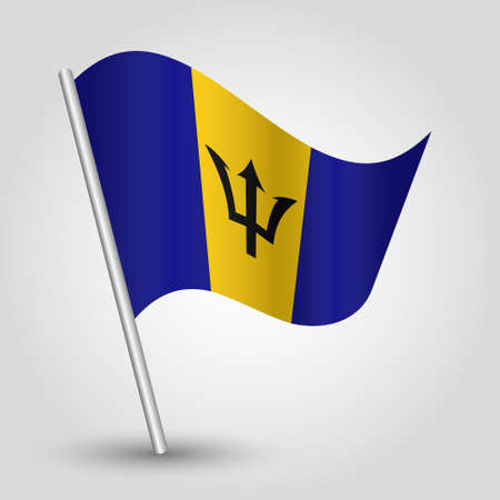 vector waving simple triangle barbadian flag on slanted silver pole - symbol of barbados with metal stick