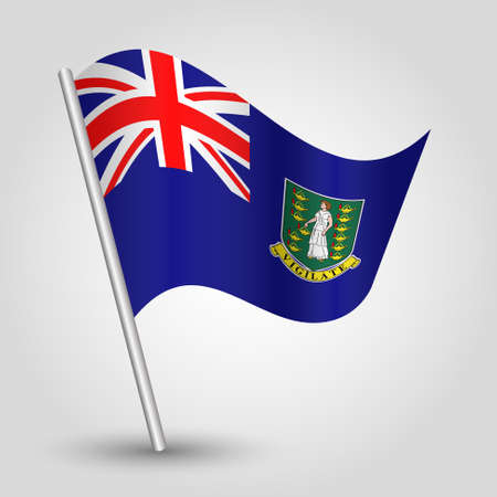 vector waving simple triangle islander flag on slanted silver pole - symbol of british virgin islands with metal stick Illustration