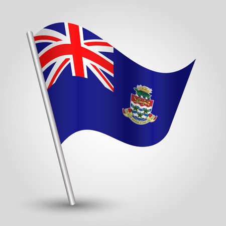 vector waving simple triangle caymanian flag on slanted silver pole - symbol of cayman islands with metal stick
