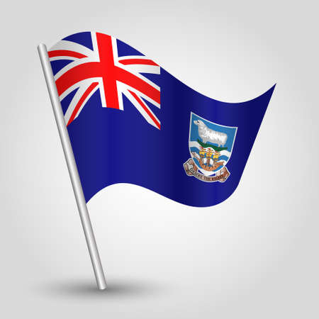 vector waving simple triangle islander flag on slanted silver pole - symbol of falkland islands with metal stick - anglo america