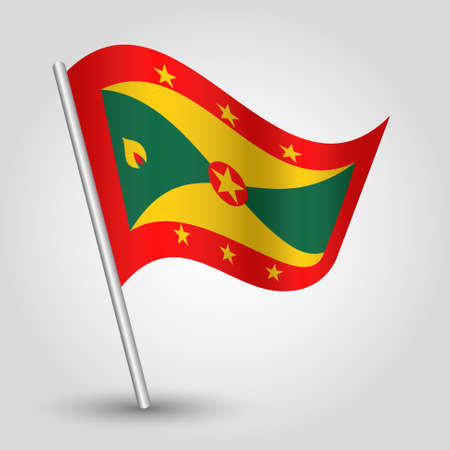 vector waving simple triangle grenadian flag on slanted silver pole - symbol of grenada with metal stick - anglo america