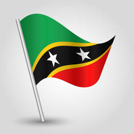 vector waving simple triangle kittian and nevisian flag on slanted silver pole - symbol of saint kitts and nevis with metal stick - anglo america