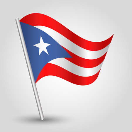 vector waving simple triangle rican flag on slanted silver pole - symbol of puerto rico with metal stick - anglo america