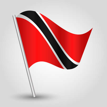 vector waving simple triangle trinidadians and tobagonians flag on slanted silver pole - symbol of trinidad and tobago with metal stick - anglo america