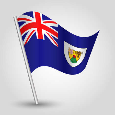 vector waving simple triangle islander flag on slanted silver pole - symbol of turks and caicos islands with metal stick - anglo america