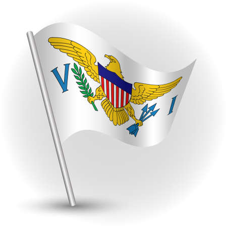 vector waving simple triangle islander flag on slanted silver pole - symbol of united states virgin islands with metal stick - anglo america Illustration