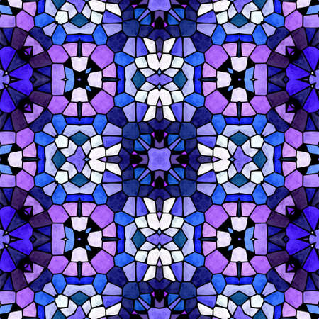 mosaic kaleidoscope jewel seamless pattern texture background - cobalt blue, lavender purple, dark violet, mauve colored with black grout Stockfoto