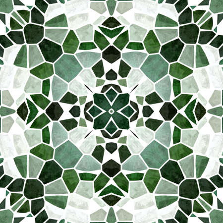 mosaic kaleidoscope jewel seamless pattern texture background - emerald green colored with white grout Stockfoto