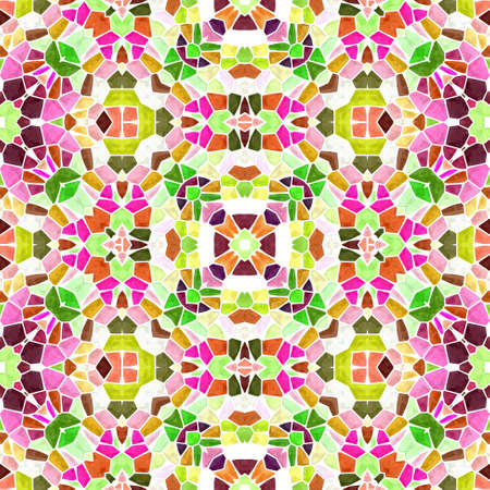 mosaic kaleidoscope jewel seamless pattern texture background - full color rainbow spectrum colored with white grout - hot pink, magenta, purple, hightlight green, orange, brown Stockfoto