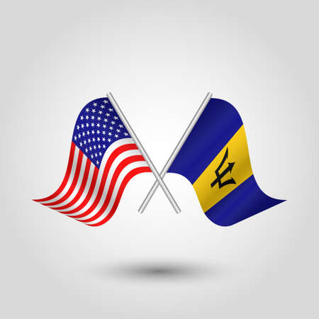 vector two crossed american and barbadian flags on silver sticks - symbol of united states of america and bargados