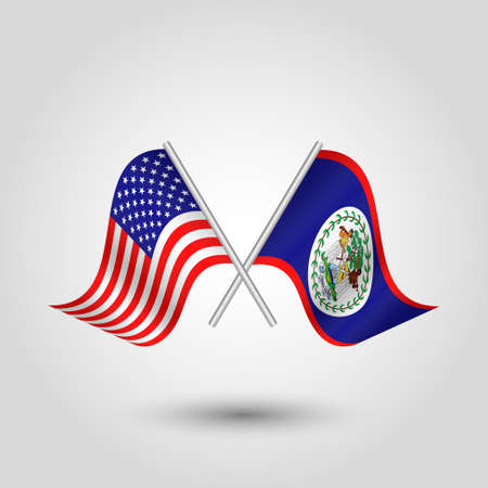 vector two crossed american and belizean flags on silver sticks - symbol of united states of america and belize