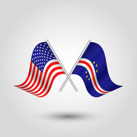 vector two crossed american and verdean flags on silver sticks - symbol of united states of america and cape verde Illustration