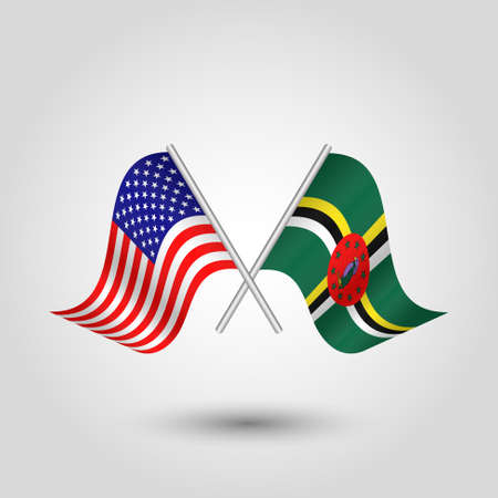 vector two crossed american and dominican flags on silver sticks - symbol of united states of america and dominica