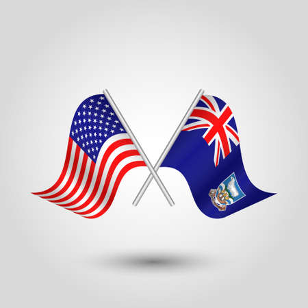 vector two crossed american and islander flags on silver sticks - symbol of united states of america and falkland islands Stock Illustratie