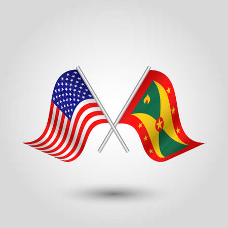 vector two crossed american and grenadian flags on silver sticks - symbol of united states of america and grenada