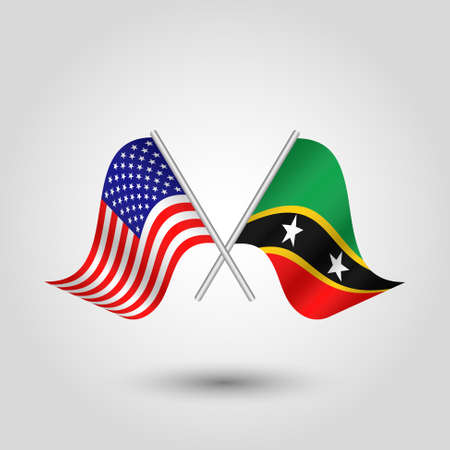 vector two crossed american and kittian nevisian flags on silver sticks - symbol of united states of america and kitts and nevis Illustration