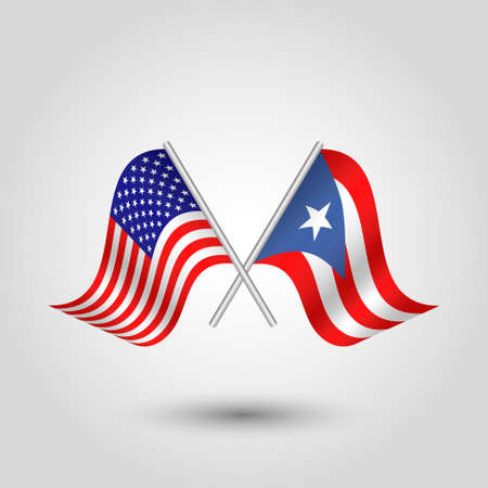 vector two crossed american and rican flags on silver sticks - symbol of united states of america and puerto rico
