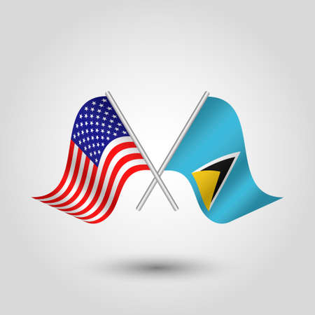vector two crossed american and lucian flags on silver sticks - symbol of united states of america and saint lucia Illustration