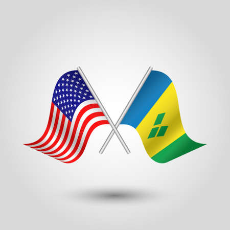 vector two crossed american and vincentian flags on silver sticks - symbol of united states of america and saint vincent and the grenadines Illustration
