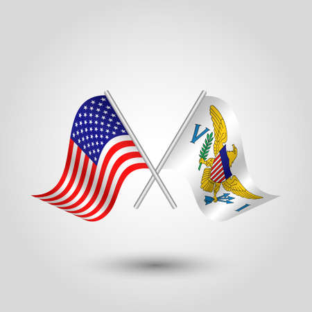 vector two crossed american and islander flags on silver sticks - symbol of united states of america and virgin islands