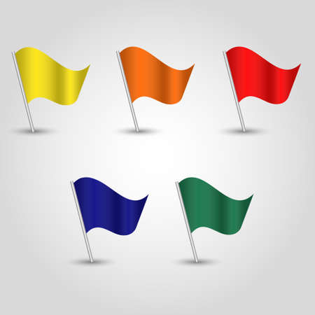 vector set of colored waving flags on silver pole - yellow, orange, red, blue, green