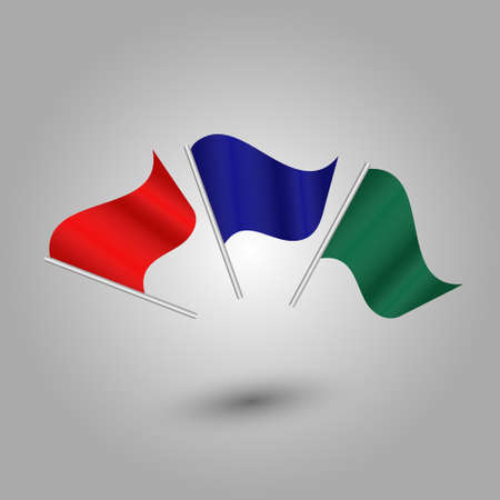 vector set of colored waving flags on silver pole - red, blue, green color