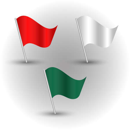 vector set of waving colored flags on silver pole - red, white, green color Illustration