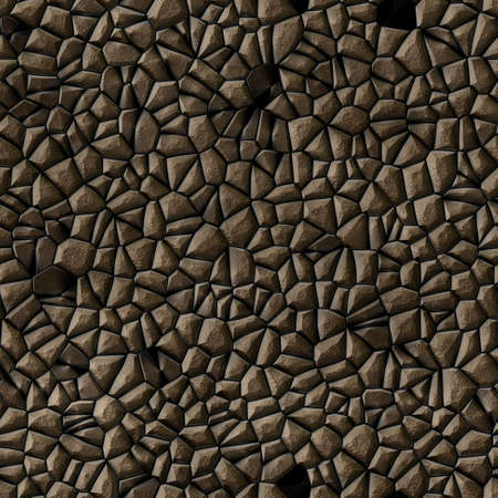 cobble stones irregular mosaic pattern texture seamless background - pavement dark brown natural colored