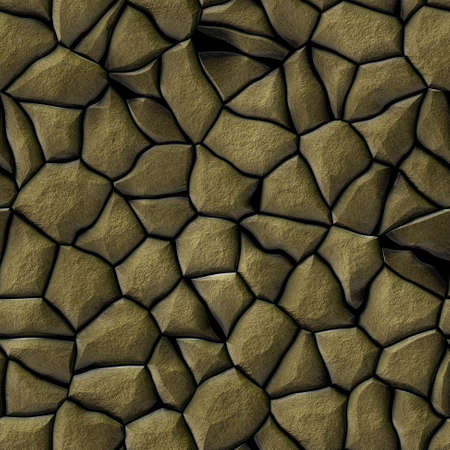 cobble stones irregular mosaic pattern texture seamless background - pavement gold beige khaki natural colored Banco de Imagens