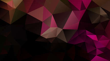 vector abstract irregular polygon background - triangle low poly pattern - black, hot pink, magenta, fuscia, brown color