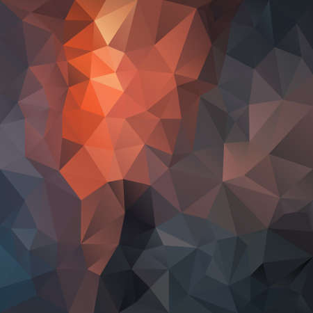 vector abstract irregular polygon square background - triangle low poly pattern - black, coal, brown, orange, spruce, graphite, flint, fog, smoke, fossil, fire color Stock Illustratie