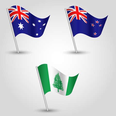 vector set of waving flags australasia on silver pole - icon of states new zealand, norfolk islands and australia Ilustração