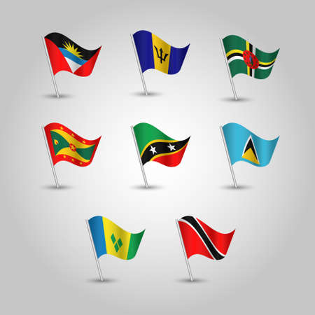 vector set of waving flags lesser antilles on silver pole - icon of states antigua and barbuda, barbados, dominica, grenada, saint kitts and nevis, saint lucia, saint vincent and grenadines, trinidad and tobago