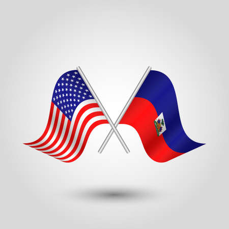 vector two crossed american and haitian flags on silver sticks - symbol of united states of america and haiti