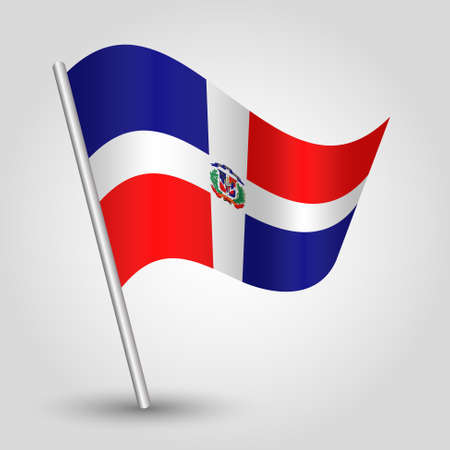 vector waving simple triangle flag on slanted silver pole - symbol of dominican republic with metal stick