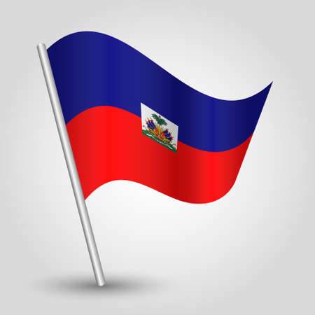 vector waving simple triangle haitian flag on slanted silver pole - symbol of haiti with metal stick