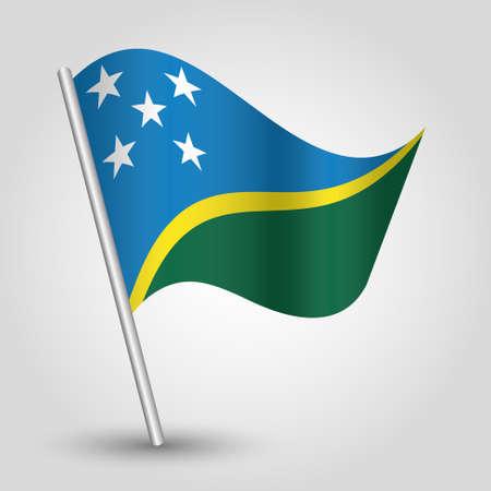 vector waving simple triangle islander flag on slanted silver pole - symbol of solomon islands with metal stick