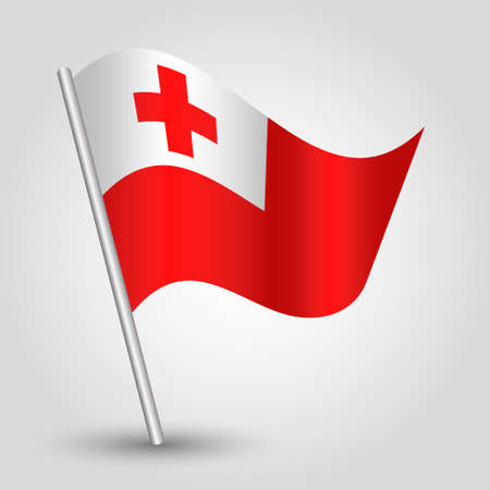 vector waving simple triangle tongan flag on slanted silver pole - symbol of tonga with metal stick
