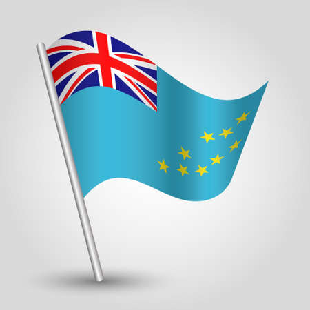 vector waving simple triangle tuvaluan flag on slanted silver pole - symbol of tuvalu with metal stick Ilustração
