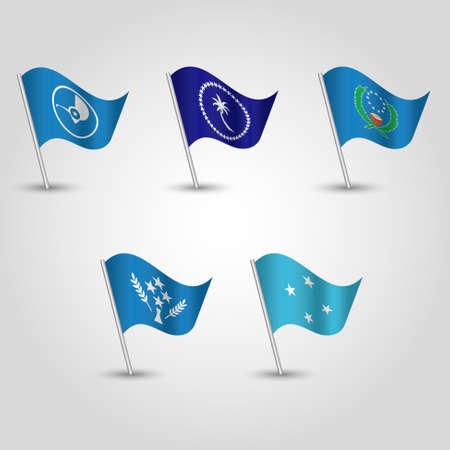 vector set of waving flags micronesia on silver pole - icon of states yap, chuuk, pohnpei and kosrae